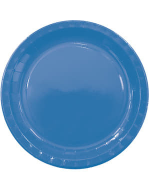 8 grandes assiettes Blue Solid