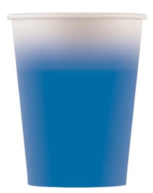 8 copos Blue Solid