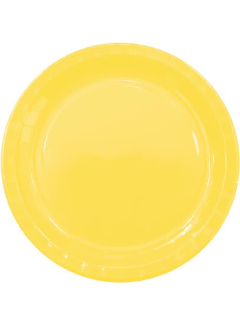 Set de 8 platos grandes Yellow Solid