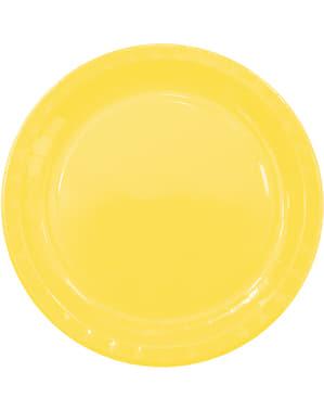 8 Żółte Talerze (23cm) - Linia Kolorów Podstawowych