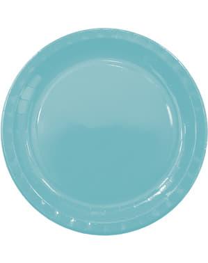 8 svetlomodrých tanierov (23 cm) - kolekcia základných farieb