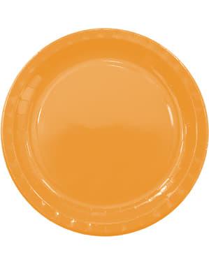 8 Jasnopomarańczowe Talerze (23cm) - Linia Kolorów Podstawowych