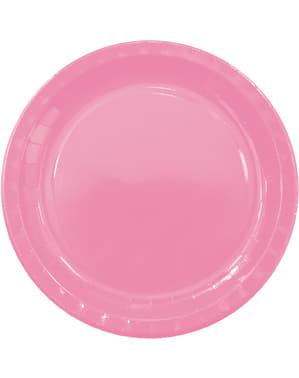 8 Różowe Talerze (23cm) - Linia Kolorów Podstawowych