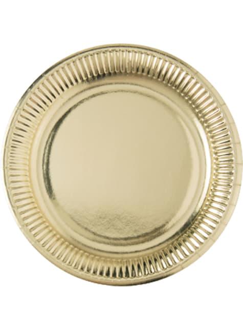 Gold Set of 10 big plates (23 cm)