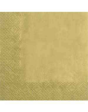 20 Gold Napkins - Gold (33x33 cm)