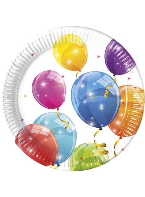 8 platos Sparkling Balloons (23 cm)