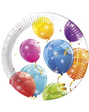 8 big Sparkling Balloons plates (23 cm)