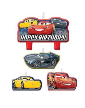 Sæt af 4 Cars fødselsdags lys