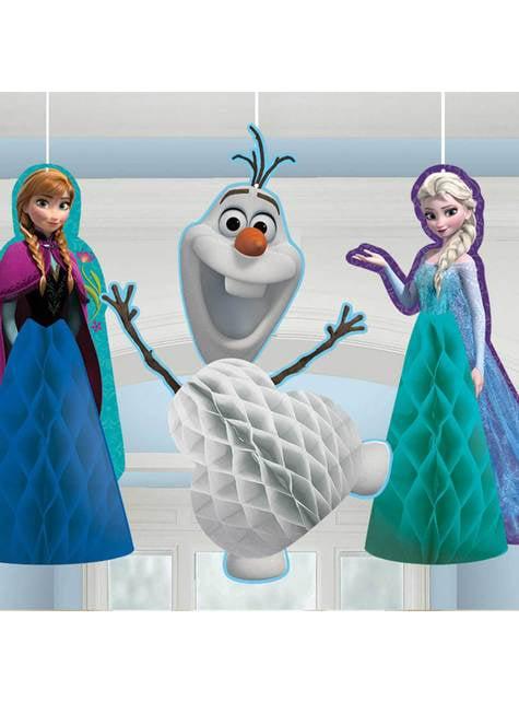 Conjunto de 3 bonecos pingentes de favo de mel de Frozen