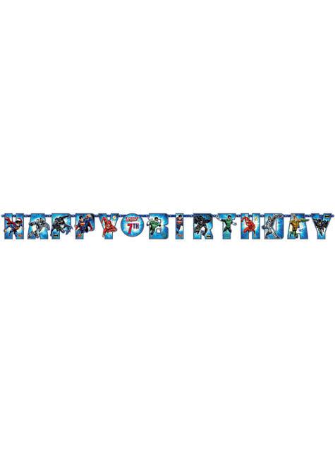 Guirnalda cumpleaños de La Liga de la Justicia personalizable