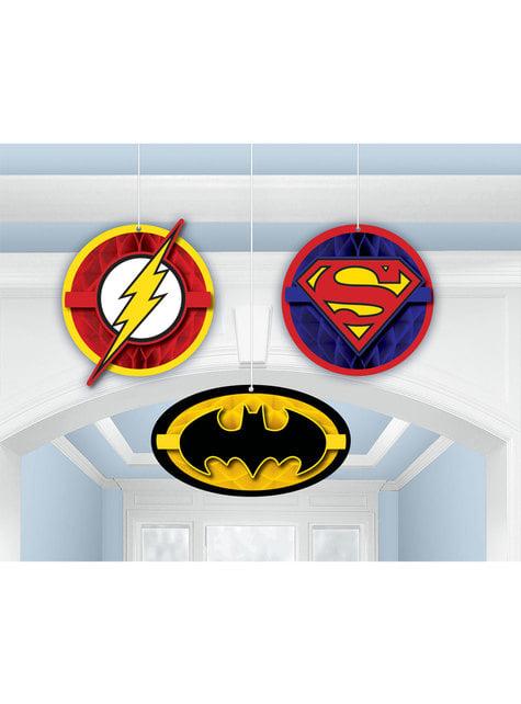 3 bonecos pingentes de painel de A Liga da Justiça