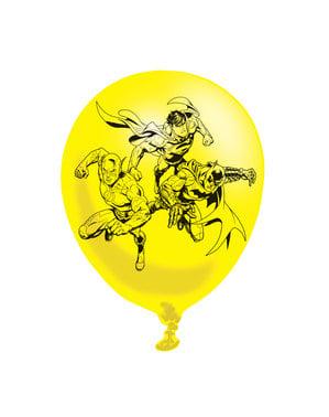 Sett med 6 varierte The Justice League latex ballonger