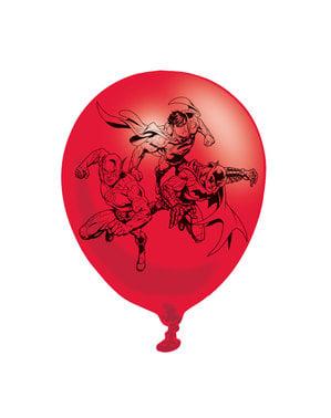 Conjunto de 6 balões de látex variados de A Liga da Justiça
