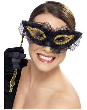 Máscara veneziana preta e dourada para mulher