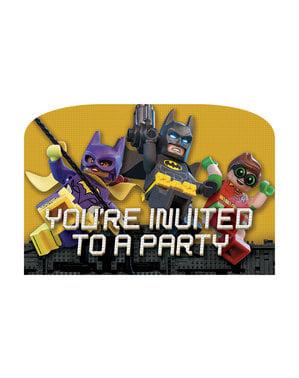 Sæt af 8 lego batman film invitationer