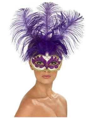 Máscara veneziana dourada e roxa para mulher