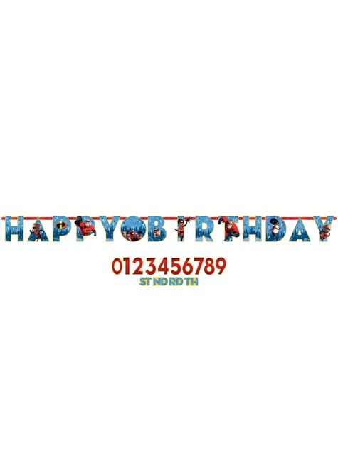 Guirnalda cumpleaños de Los Increíbles 2 personalizable