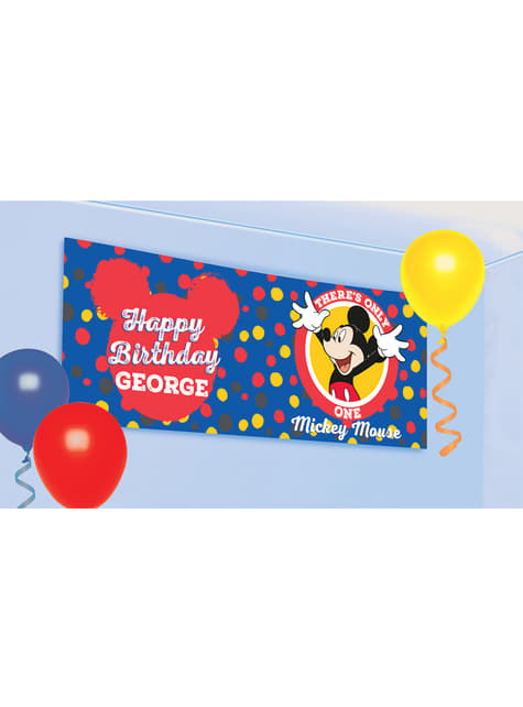 Affiche personnalisable anniversaire Mickey Mouse