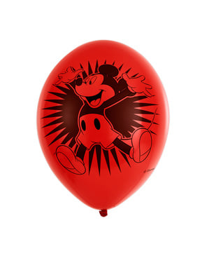 6 Mickey Mouse party latex balloons (28 cm)
