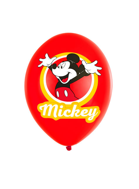 6 globos de látex Mickey Mouse Feliz (28 cm)