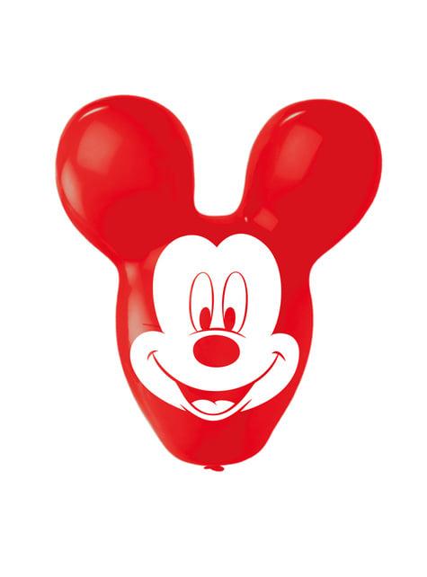 4 globos de látex con forma de Mickey Mouse (56 cm) - para tus fiestas