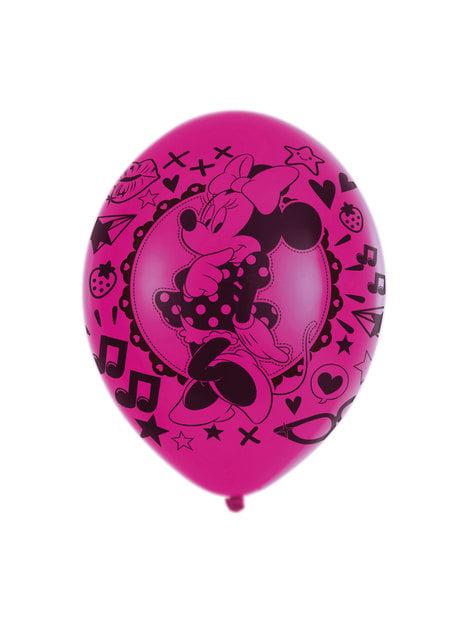 Sæt af 6 Minnie Mouse latex balloner
