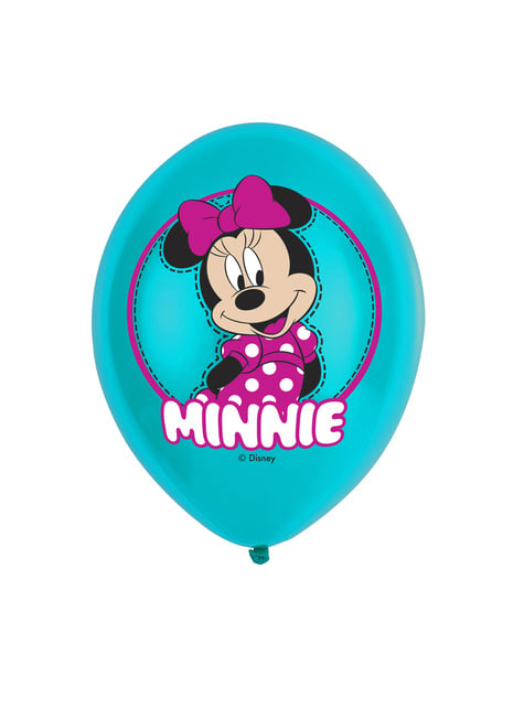 Set de 6 globos de látex de Minnie