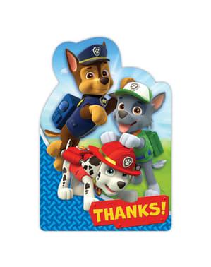 Zestaw 8 kartek z podziękowaniami Psi patrol