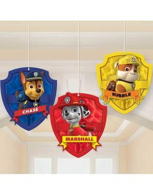3 suspensions personnages nid d'abeille La Pat' Patrouille