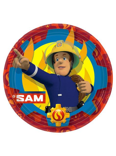 Set of 8 big Fireman Sam plates