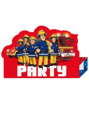 8 invitații Pompierul Sam