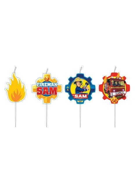 4 minicandele di Sam il Pompiere (7,3 cm)