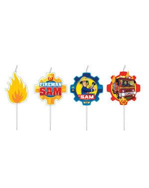 4 mini Fireman Sam kaarsen (7,3 cm)