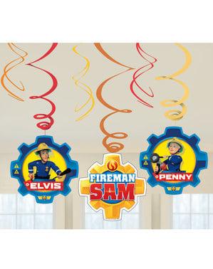 Sett med 6 Brannmann Sam hengende dekorasjoner