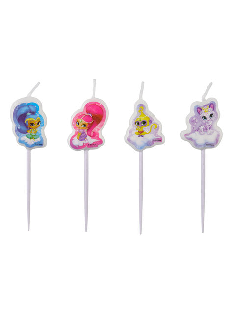 4 Shimmer and Shine candles (7,3 cm)