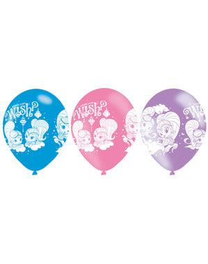 Sett med 6 varierte Shimmer og Shine latex ballonger