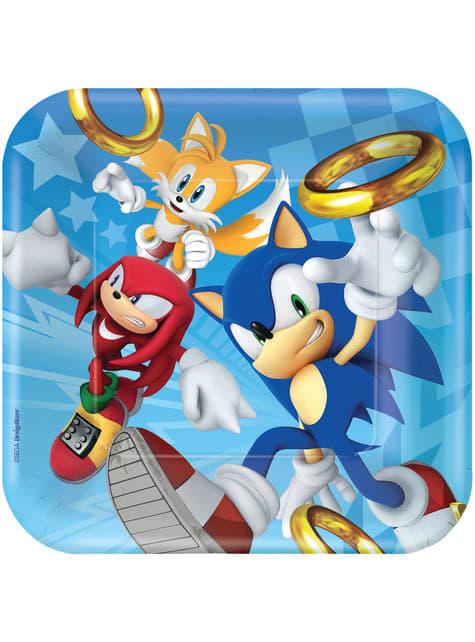 Zestaw 8 dużych talerzy Sonic