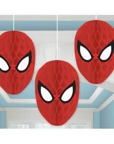 Set de 3 decoraciones colgantes de panel de abeja de Spiderman