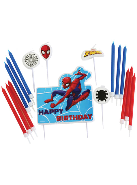 Set de 17 velas de Spiderman
