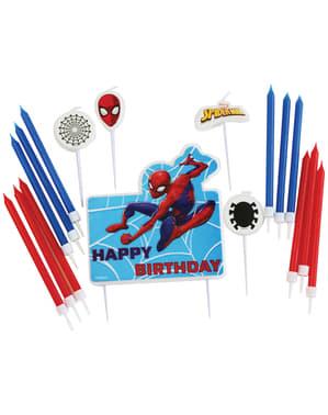 Sett med 17 Spiderman stearinlys
