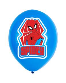 Set de 6 globos rojos y azules de Spiderman
