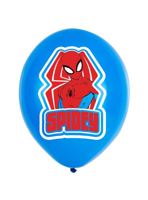 Conjunto de 6 balões vermelhos e azuis de Homem-Aranha