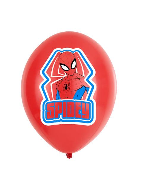 6 ballons rouges et bleus Spiderman