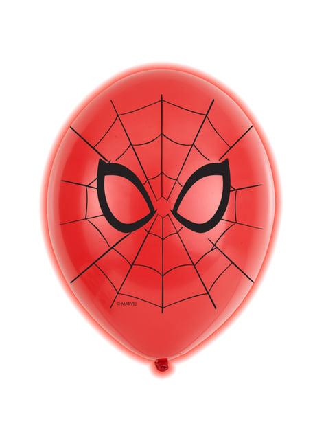 Conjunto de 5 balões de látex LED de Homem-Aranha