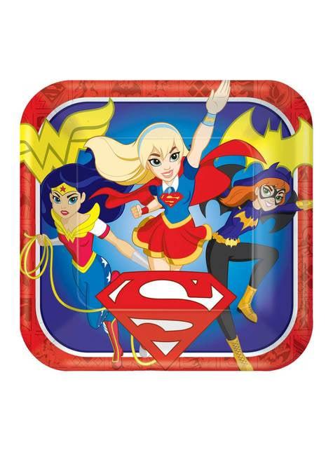 Set de 8 platos grandes DC Super Hero Girls