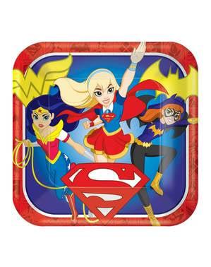 Sæt af 8 store DC superhelte piger tallerkner