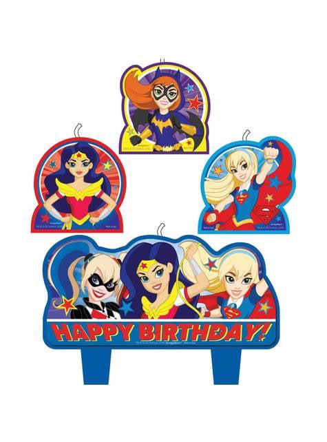 4 velas DC Super Hero Girls (5,5 - 7,8 cm)