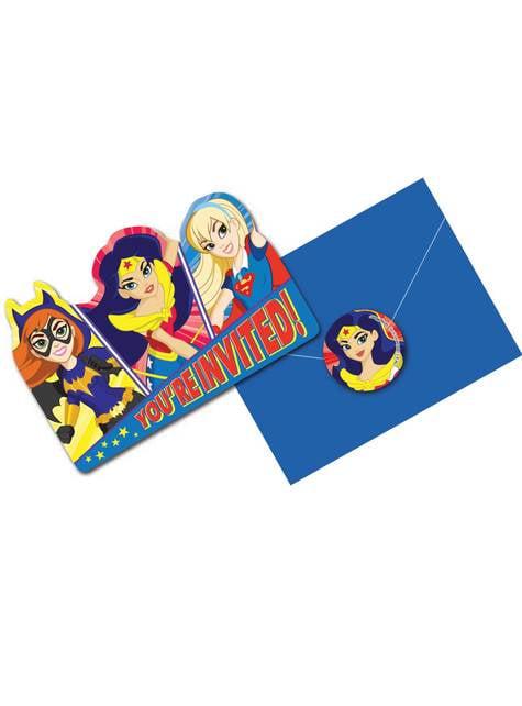 Conjunto de 8 convites DC Super Hero Girls