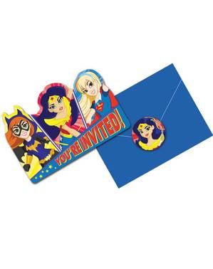 DC Super Hero Girls Einladungskarten Set 8-teilig
