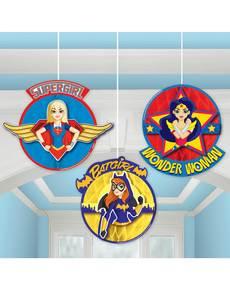 Set de 3 decoraciones colgantes de panel de abeja DC Super Hero Girls